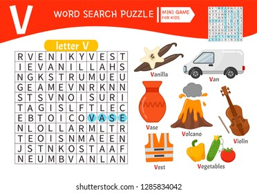Words puzzle children educational game. Learning vocabulary. Letter V. Cartoon objects on a letter V