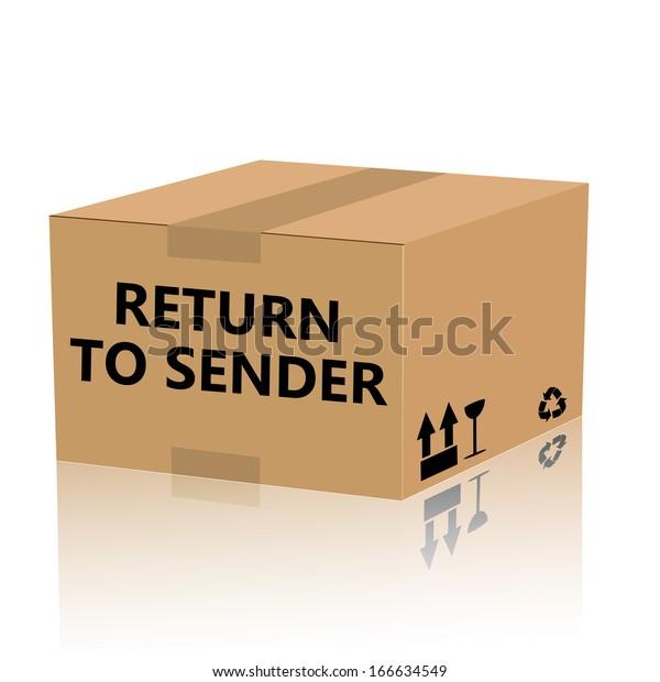 The words Return to Sender on a cardboard package