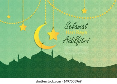 "Words ""Selamat Hari Raya Aidilfitri"" wishes greeting card template, Eid Mubarak day, muslim holiday celebration in Malay language. with mosque silhouette, geometry pattern."