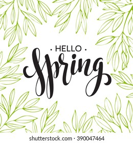 Words Spring with wreath, branches,leaves . Vector illustration EPS10