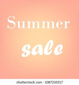 Words summer sale, brush sammer lettering poster. Vector sammer illustration