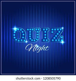 Words trivia night made of light box letters. Trivia game or quiz show background with light bulbs, vector illustration for announcement poster