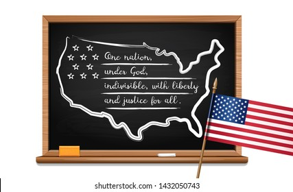 Words US oath of allegiance written in chalk on a blackboard and USA flag. Pledge of Allegiance of the United States. One Nation under God, indivisible, with liberty and justice for all