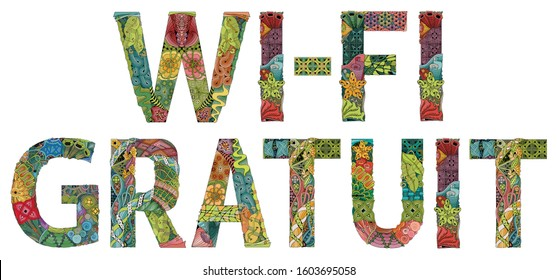 Words WI-FI GRATUIT. Vector decorative zentangle object