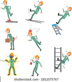 Work accident set illustration of male worker