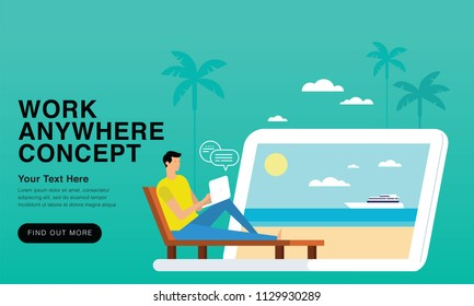work anywhere Concept 2018 - New Trends And Modern Minimalism Style With Colour Transition. Can Use For Web, Landing Page, Infographics, Editorial, Commercial Use And Others. Vector.