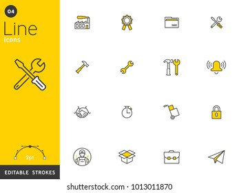 Work and basic line icons collection, editable strokes. For mobile concepts and web apps. Vector illustration, clean flat design