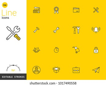 Work and basic yellow line icon collection, editable strokes. For mobile concepts and web apps. Vector illustration, clean flat design