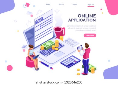 Work bills, coin site, money on blank webpage. Form, landing page concept for infographics, hero images. Flat isometric vector illustration. Web banner between white background, between empty space