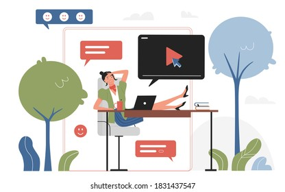 Work break vector illustration. Cartoon young happy business woman character sitting and relaxing in communication, office worker watching movie, communicating, messaging at breaktime background