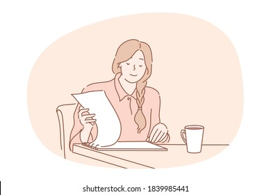 Work, business, management, analysis concept. Proffesional young businesswoman clerk manager accountant reads report searching documents contracts at office workplace.Financial research and paperwork.