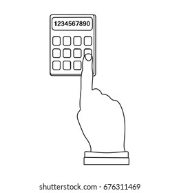 Work with the calculator. E-commerce single icon in outline style vector symbol stock illustration web.