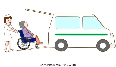 Work of the care.A nurse is going to pick up the elderly person of the wheelchair on the car.