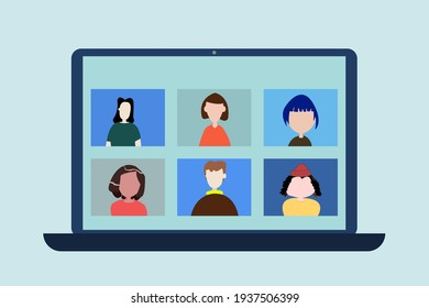 Work colleagues chat online, Online meeting Learn online