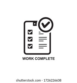 WORK COMPLETE ICON , DOCUMENT DONE ICON