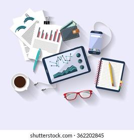 Arbeitskonzept - Business-Konzept - flaches Design - Draufsicht - große Ideen - helle Ideen. digitale Tablette zeigt einige Business Charts. Viele Objekte (Smartphone, Stifte,...) verteilten sich zufällig auf dem Schreibtisch.