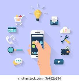 Work concept - business concept - human hands holding smart-phone - Set of flat design icons for Business, SEO and Social media marketing.