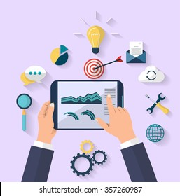 work concept - business concept - top view - human hands holding digital tablet that show a graphs of business change - Set of flat design icons for Business, SEO and Social media marketing