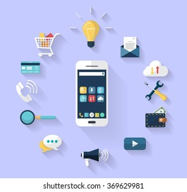 Work concept - business concept -white smart-phone int the centre and a Set of flat design icons for Business, SEO and Social media marketing around the smartphone. isolated in blue background.