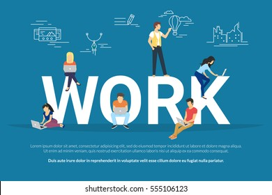 Work concept illustration of young people working as a team and attending the professional workshop and brainstorming new brand or concept. Flat design of guys and women sitting on the big letters