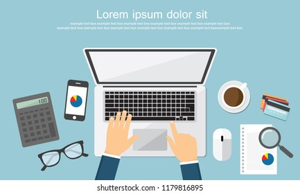 Work desktop top view, office desk table, copy space flat Vector Illustration.