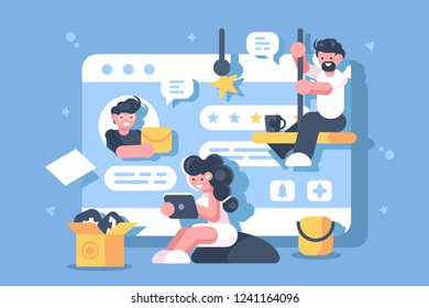 Work in digital space flat poster. People working using internet vector illustration. Cartoon characters men and woman with gadgets. Modern technologies concept.