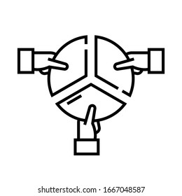 Work division line icon, concept sign, outline vector illustration, linear symbol.