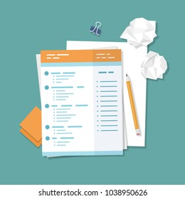 Work with documents, filling forms. Blank, crumpled paper, pencil, stickers, binder clip. Vector illustration top view