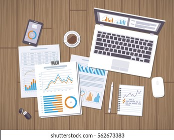 Work with documents. Workflow concept. Accounting, analysis, research, planning, audit, report, management. Forms with charts, graphs, leptop with information on the screen, notebook, phone, desk.