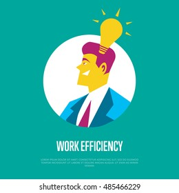 Work efficiency banner with businessman round avatar icon and lightbulb symbol on blue background, vector illustration. Side view of smiling businessman character. Work smarter concept.