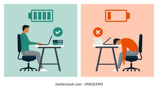 Work efficiency and professional burnout: productive businessman in the office vs exhausted worker comparison