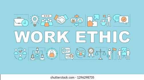 Work ethic word concepts banner. Partnership and leadership. Teamwork. Team building. Isolated lettering typography idea with linear icons. HR management. Vector outline illustration