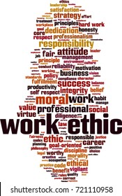 Work ethics word cloud concept. Vector illustration