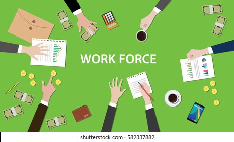 work force concept discussion in a meeting illustration with paperworks, money, coins and folder document on top of table