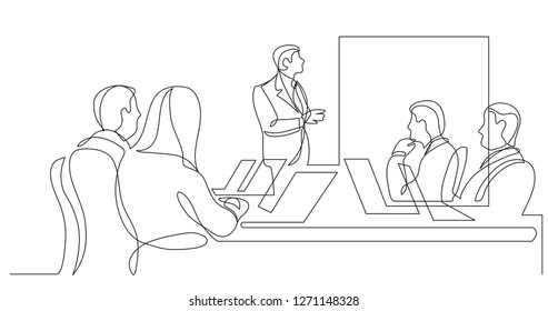 work group watching presentation during team meeting - one line drawing