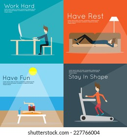 work hard. have rest. have fun. stay in shape. life activities. vector illustration