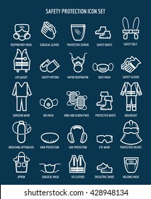 Work health and occupational safety protection icons. Vector illustration