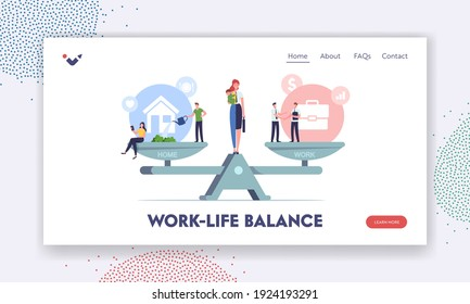 Work and Home Balance Landing Page Template. Characters Balancing on Scales with Life Values. Woman Separated on Halves as Housewife with Child and Businesswoman. Cartoon People Vector Illustration