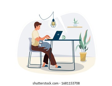 Work at home concept design. Freelancer man working on laptop at his house and keep cat pet on his knees. Vector illustration isolated on white background. Online study, education.