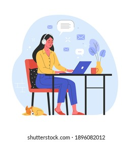 Work from home concept. Vector illustration in trendy flat style of a young pretty woman sitting on a red chair in her apartment and working on a laptop at the desk. Isolated on background