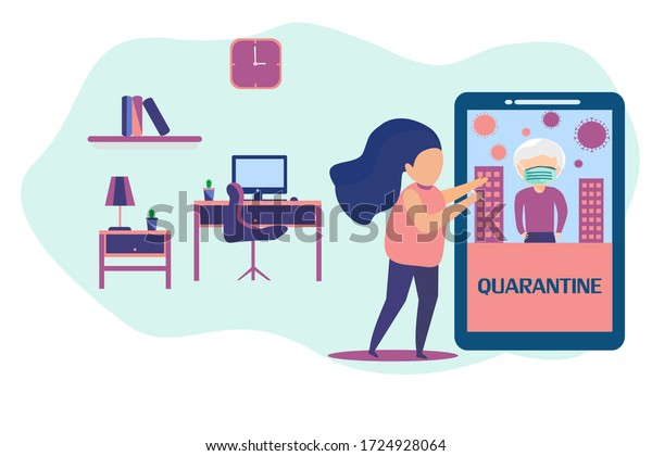 Work Home Design Ideas Woman Working Stock Vector Royalty Free 1724928064