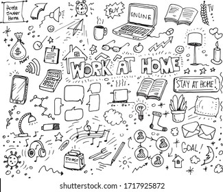 Work at home hand drawn vector doodles