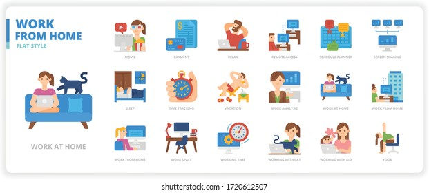 Work from home icon set for web design, book, magazine, poster, ads, app, etc.