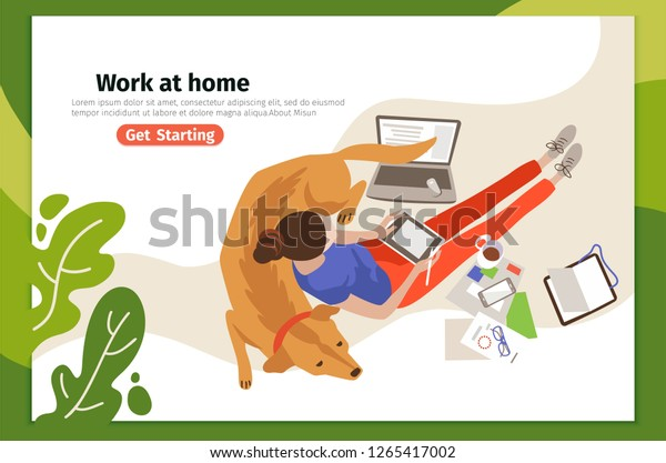 Work Home Landing Page Vector Template Stock Vector Royalty