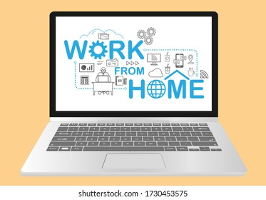 Work from home letter design with flat working icon, Graph, gear, letter, smart tv,  coffee, iced tea, cloud network, mobile, and internet connecting icon.  Connect the home office  and remote work.