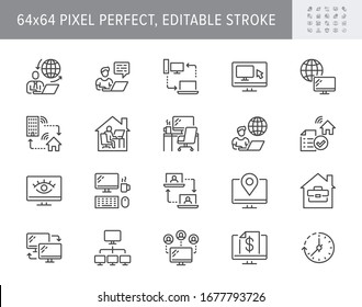 Work from home line icons. Vector illustration included icon as freelance worker with laptop, workspace, pc monitor, business outline pictogram for online job. 64x64 Pixel Perfect, Editable Stroke.