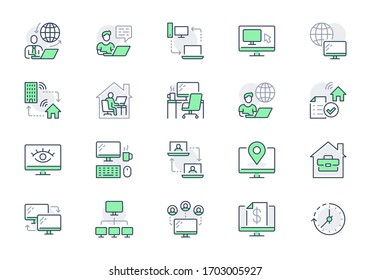 Work from home line icons. Vector illustration included icon as freelance worker with laptop, workspace, pc monitor, remote business outline pictogram for online job, green color.