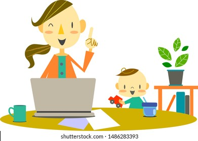 work from home, mother & baby