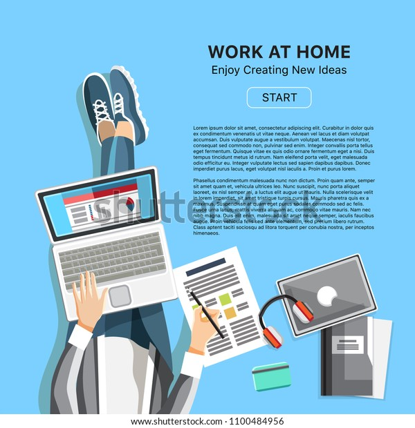 Work Home Office Business Banner Top Stock Vector (Royalty