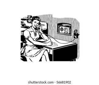 Work From Home - Retro Clip Art